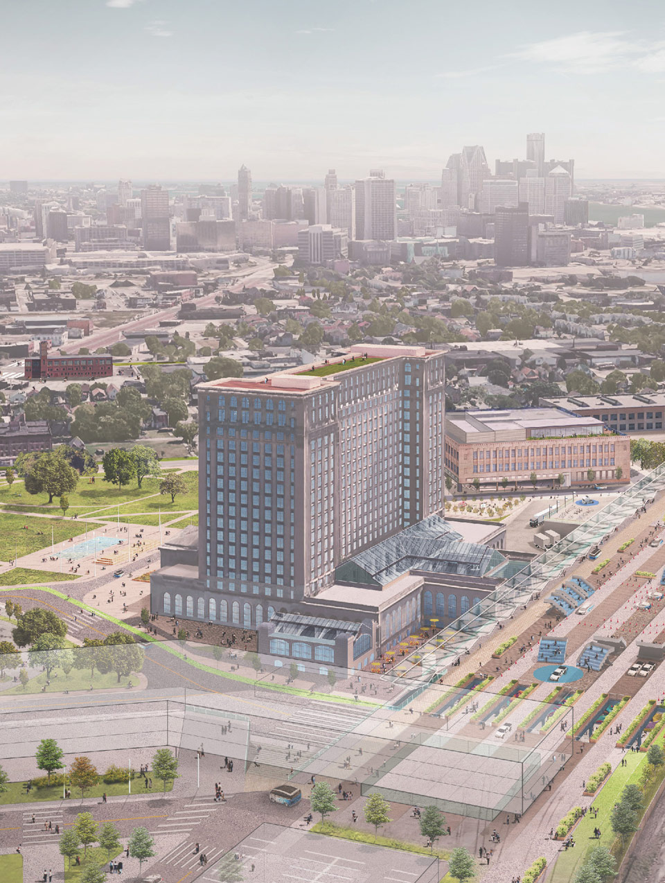 3-D Rendering of Michigan Central Station and how it will look after renovations are complete.