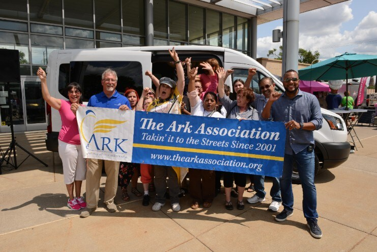 Transit Donation July, 28, 2018, Detroit, MI - Karen Gates, founder of The Ark Association, along with volunteers, celebrate the gift of a new 12-passenger Ford Transit from the Ford Motor Company Fund.