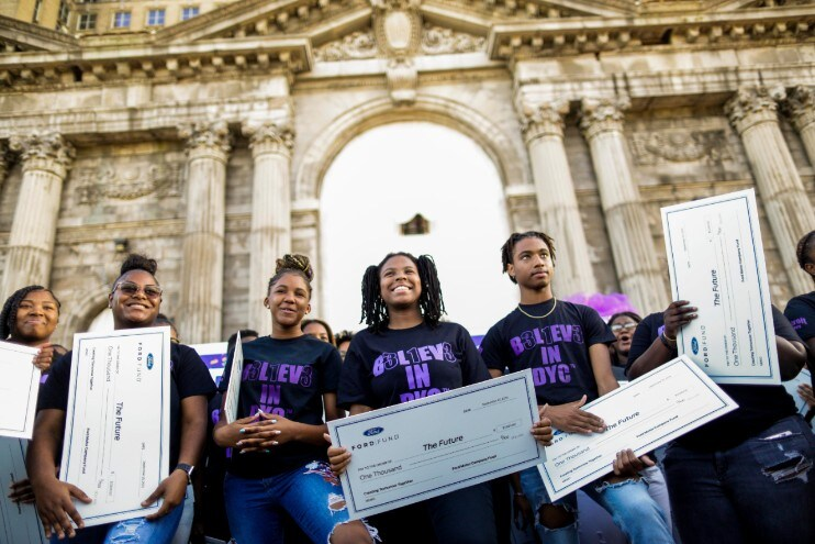 """Detroit Youth Choir DETROIT, Sept. 25, 2019 – Ford Motor Company invites the Detroit Youth Choir to rehearse in the iconic Michigan Central Station following its award-winning performance on """"America's Got Talent."""" Following the rehearsal, Ford Motor Company Fund, the company's philanthropic arm, presented each student in the 52-member choir with a $1,000 scholarship. Ford also donated a 15-passenger Transit van to help meet the singing group's mobility needs, including transportation of individual members to and from rehearsal and community events. PHOTO BY: Charlotte Smith"""
