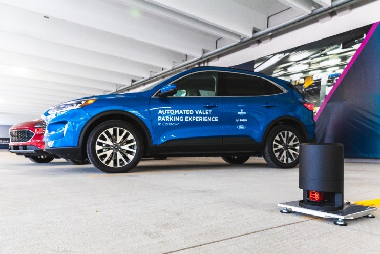 Automated Valet Parking Ford Motor Company, Bedrock and Bosch are launching a demonstration project with connected Ford Escape test vehicles that can drive and park themselves inside Bedrock's Assembly Garage in Detroit using Bosch smart infrastructure.