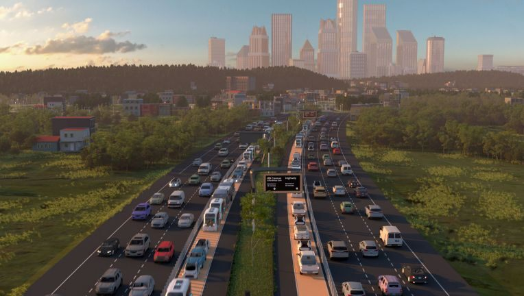 artist rendition of highway with land for self driving vehilces