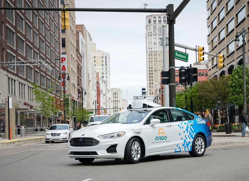 The ARGO self-driving test vehicle driving through the streets of Detroit.